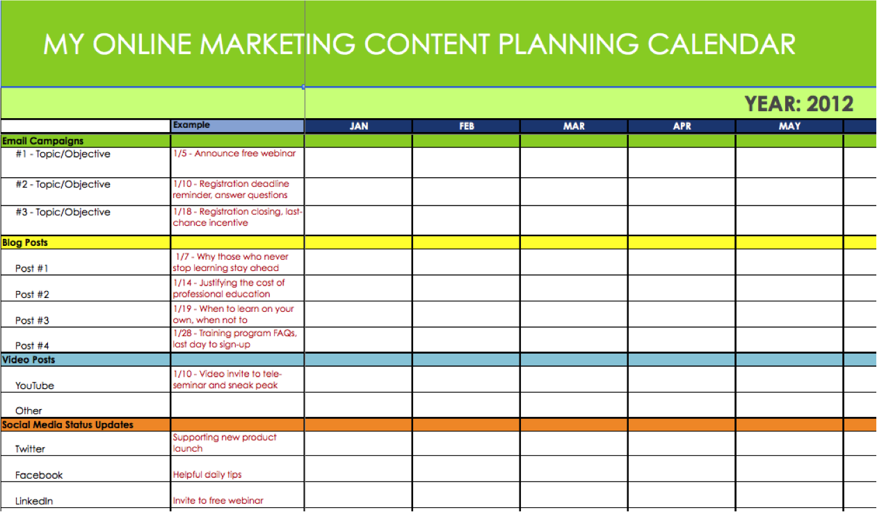 Why you need a content marketing schedule and how to for Strategic planning calendar template